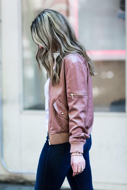 womens rose gold bomber jacket
