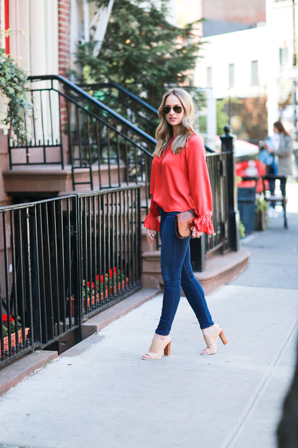 red L' academie bell sleeve blouse