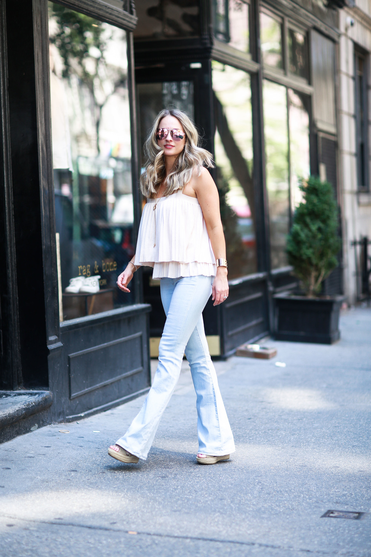 paige denim high waisted flare jeans