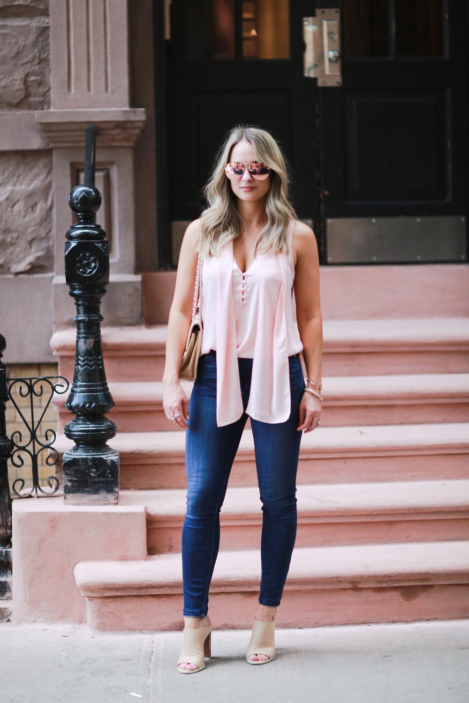 L'academie blush pink necktie blouse