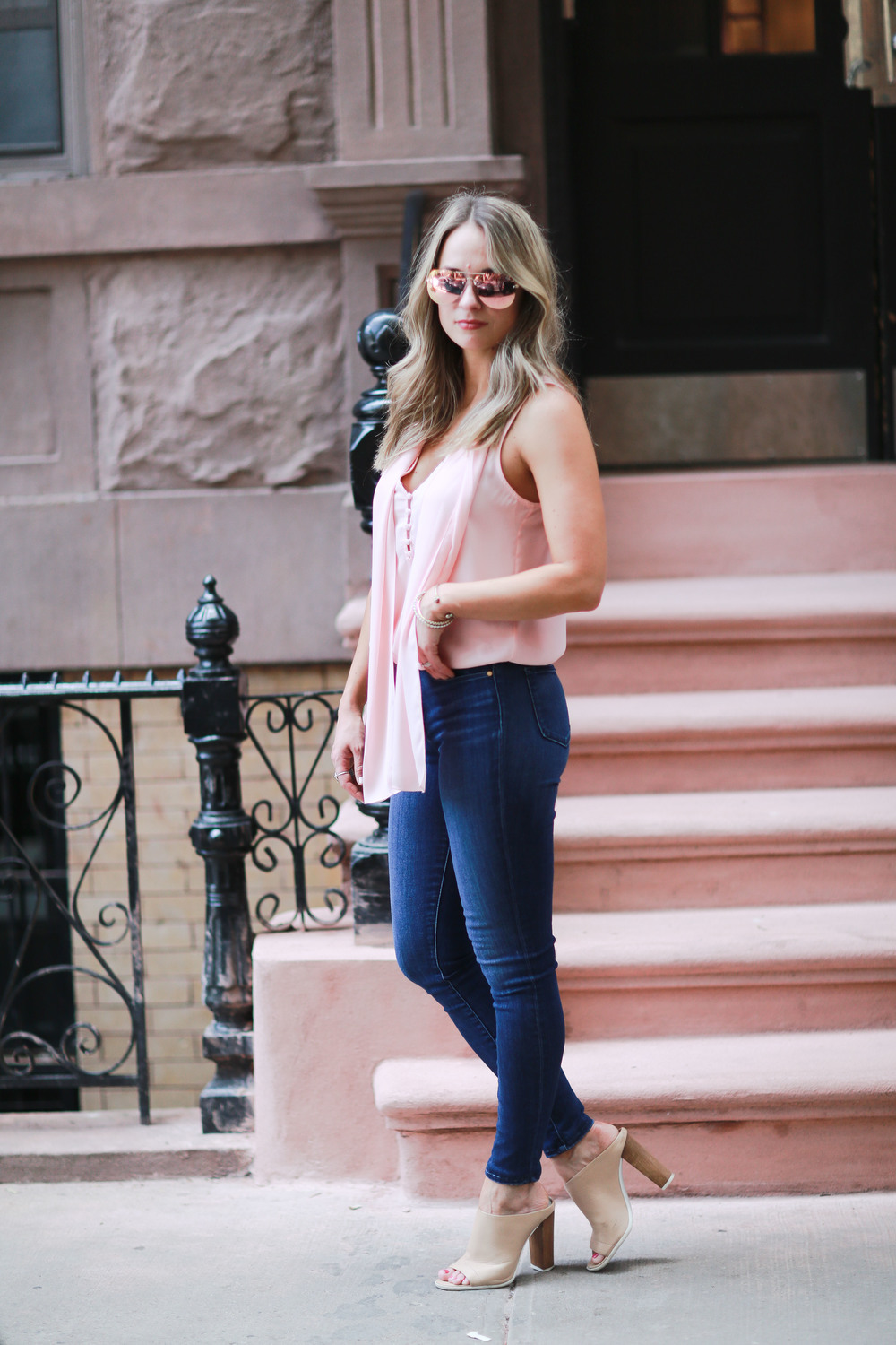 blush pink silk blouse