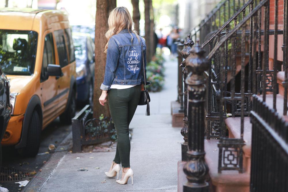 branded jean jacket