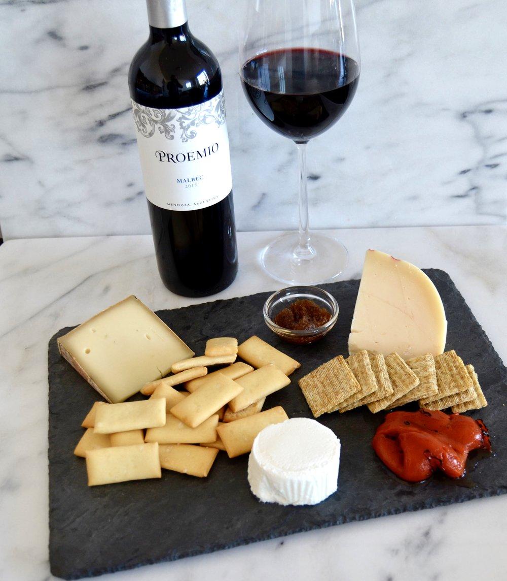 cheese plate proemio malbec