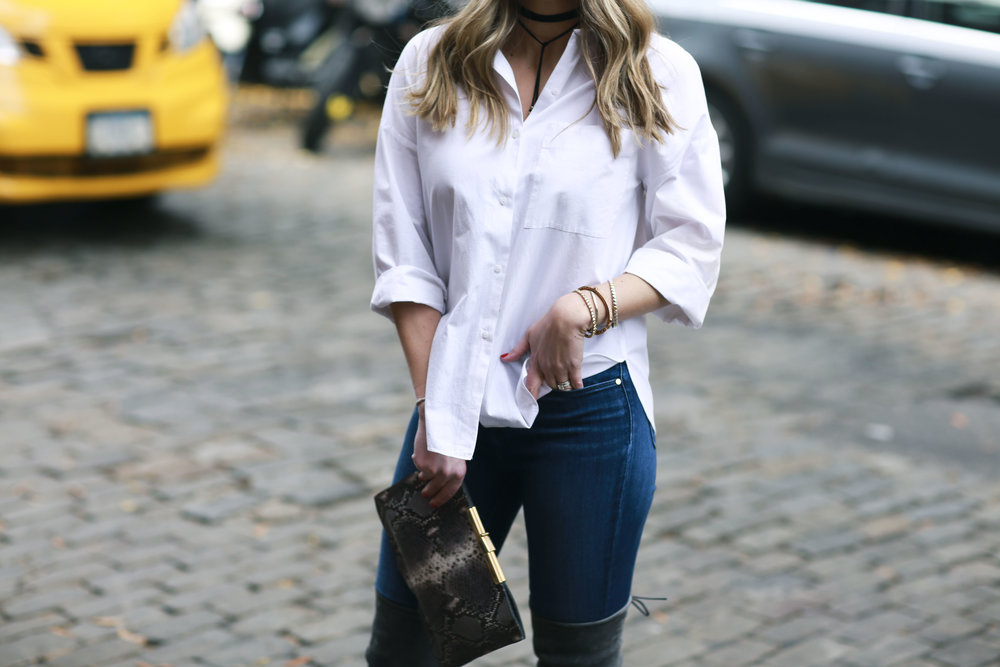 white button down and over the knee boots