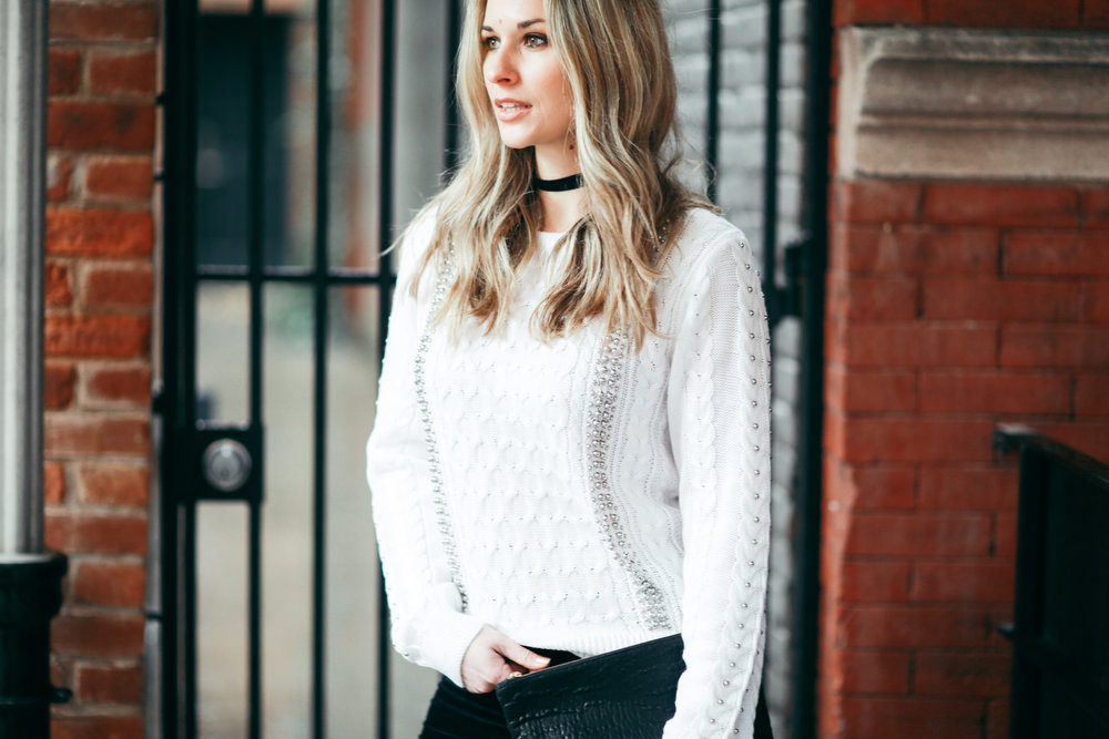 studded cable knit sweater