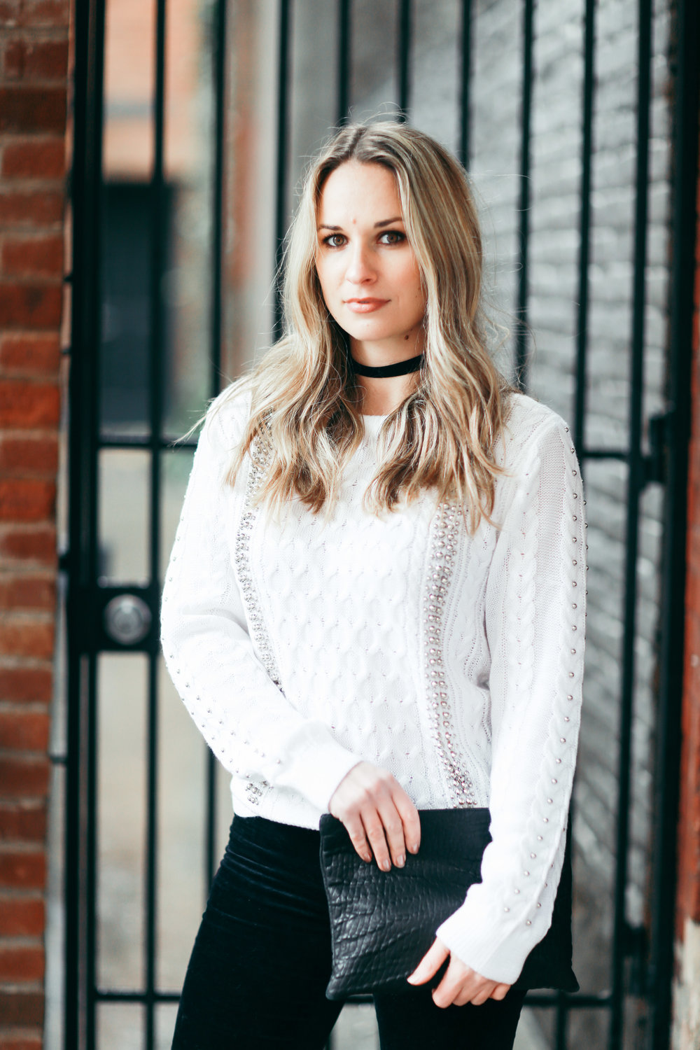 white cable knit studded sweater