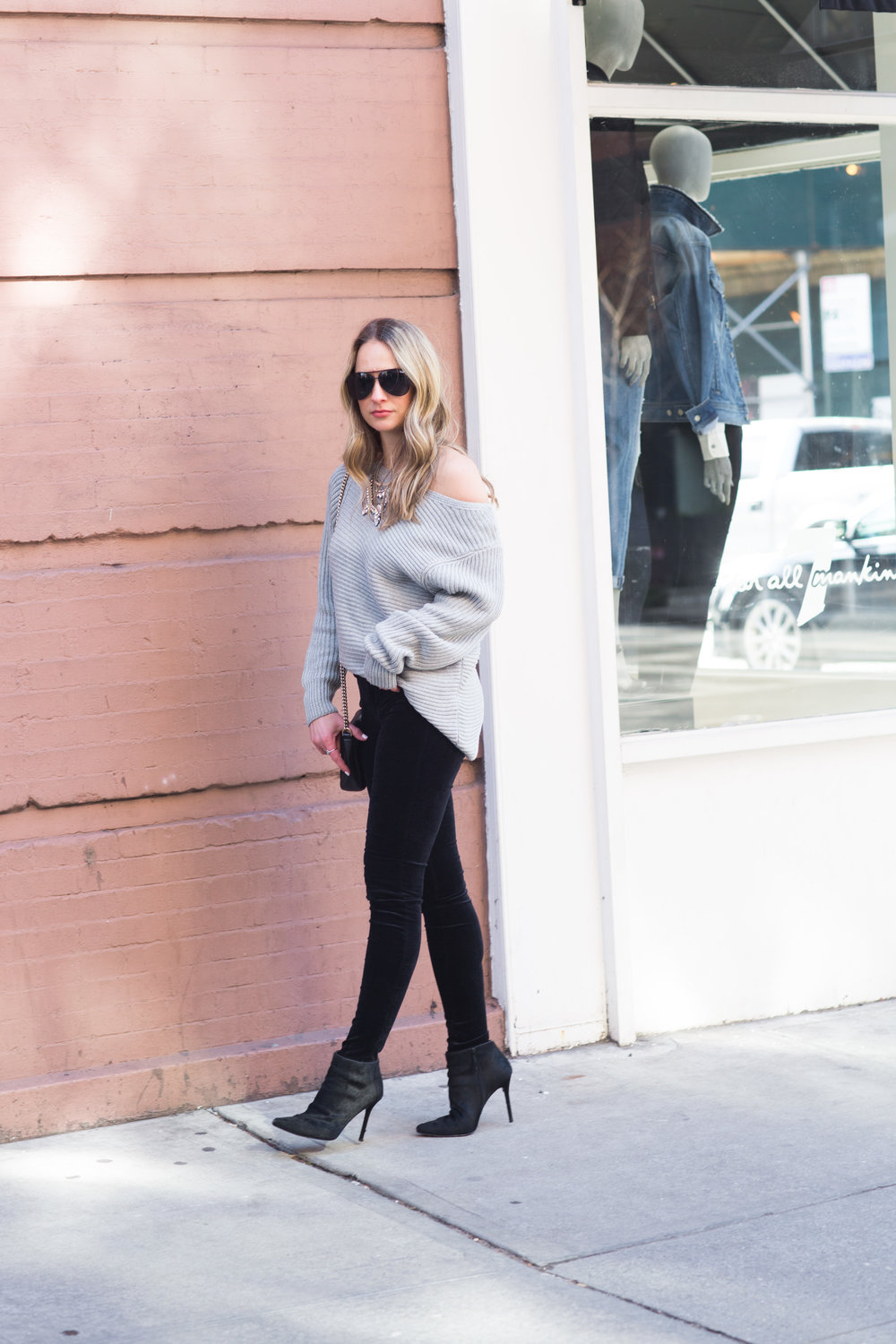 steele off the shoulder sweater