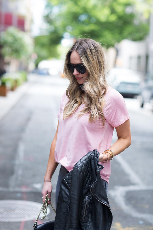 blush pink tee shirt