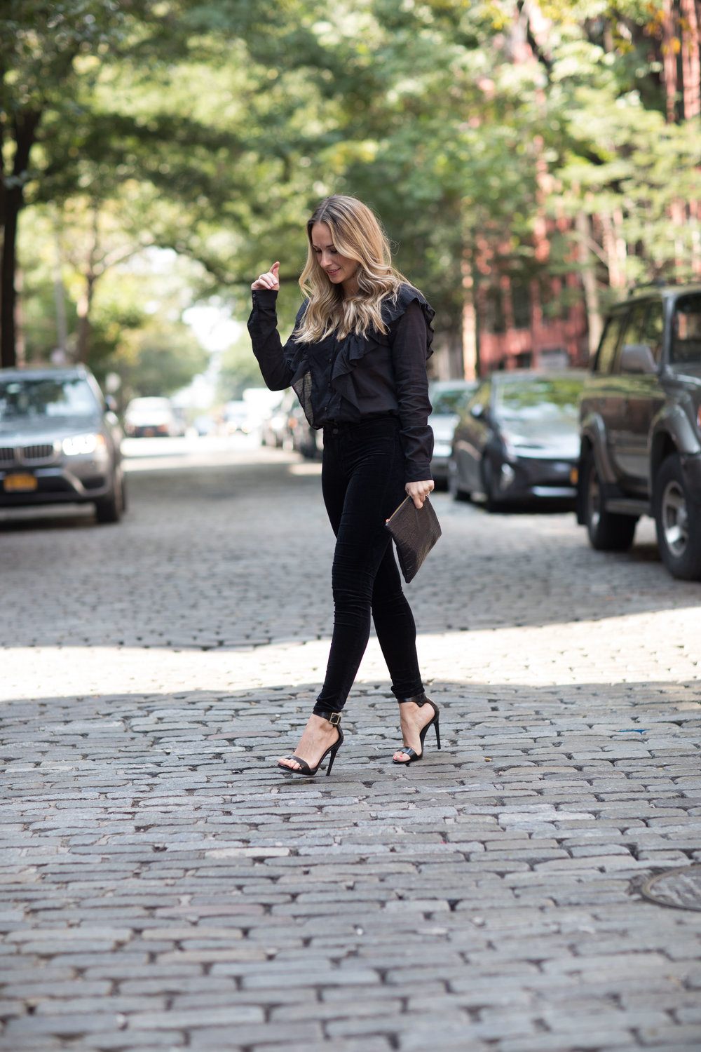 black ruffle blouse