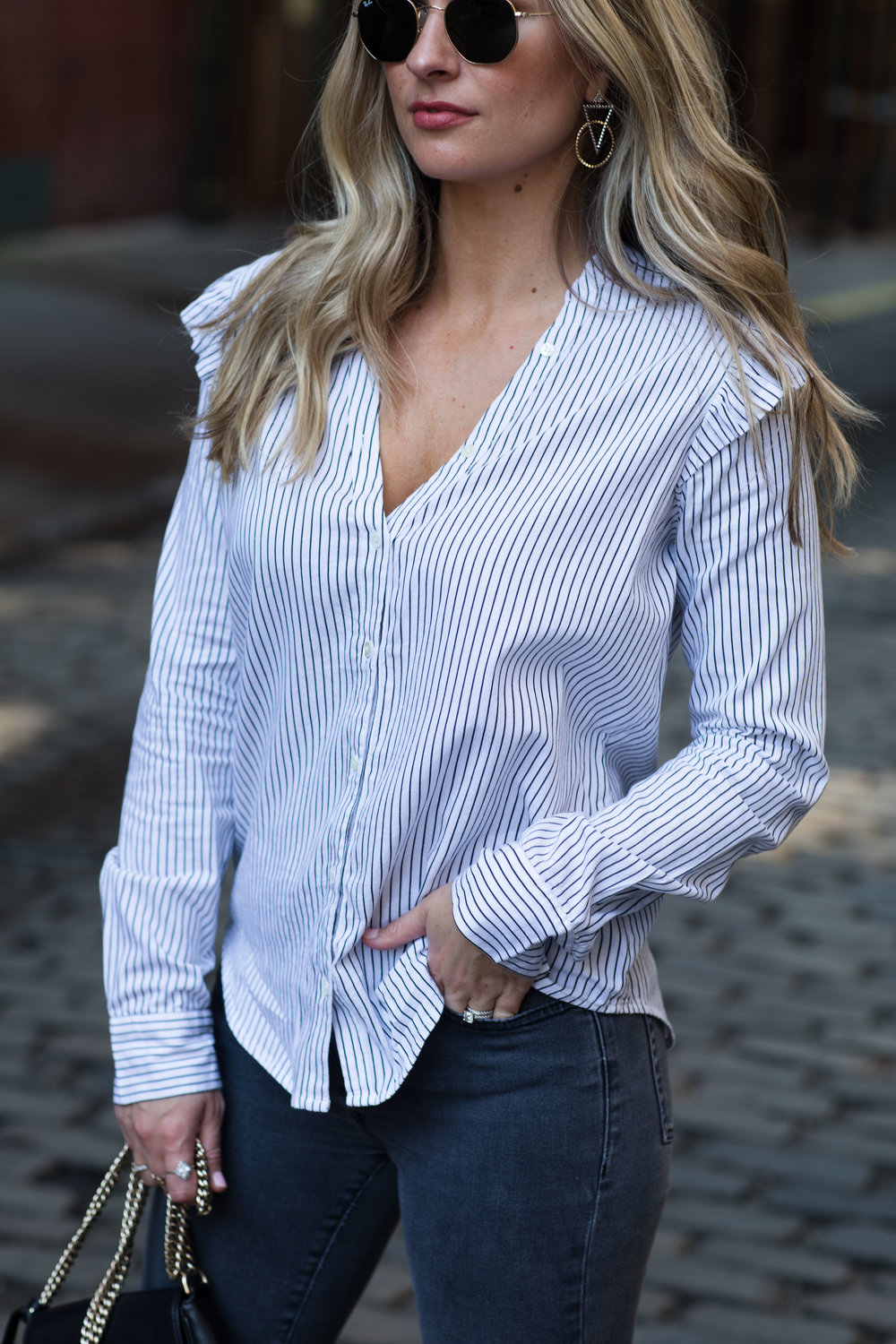 paige denim striped ruffle top