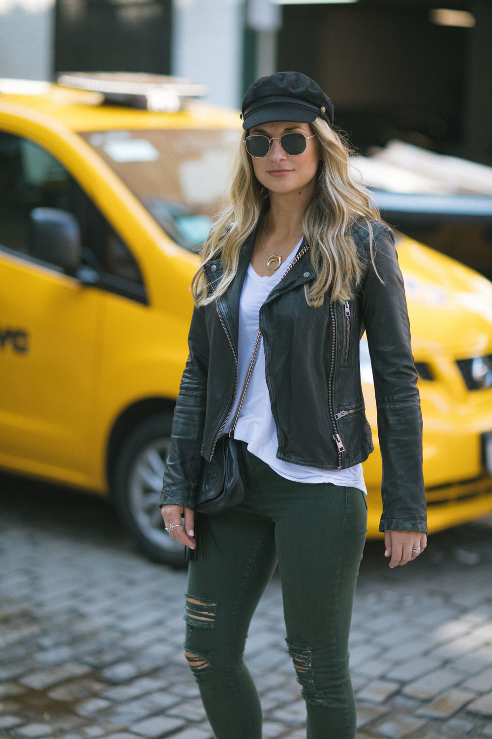 leather moto and jeans