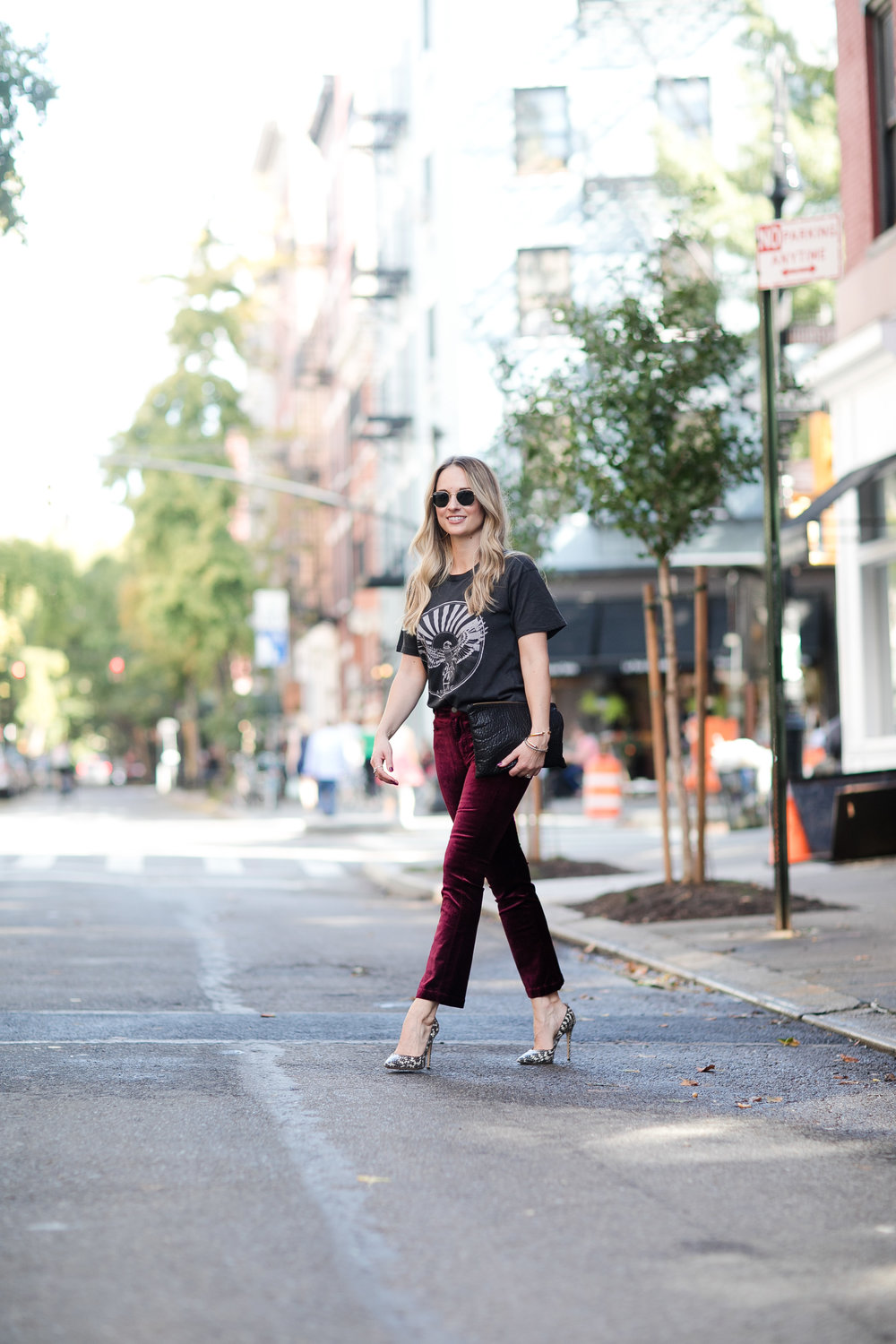 velvet pants and graphic tee