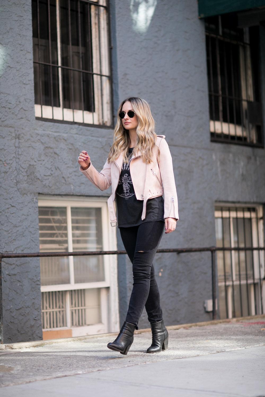 topshop pink suede moto