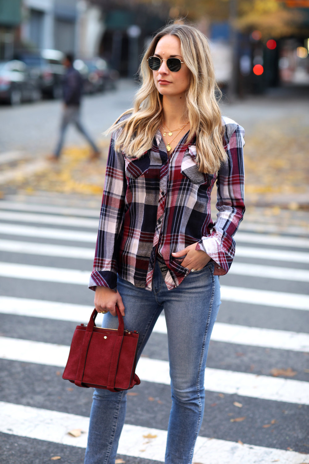 jeans and plaid