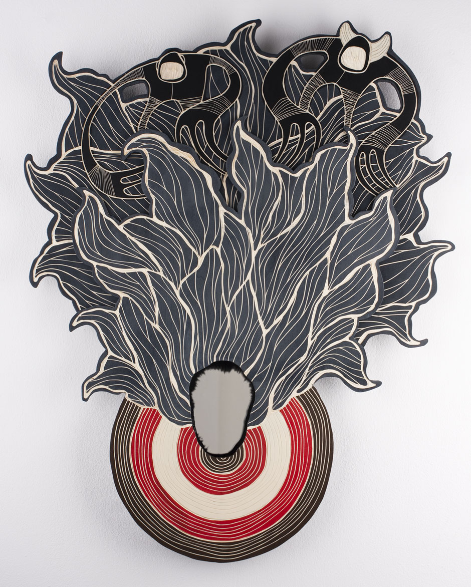 TARGET.PRACTICE #01 | woodcut, acrylic paint, mirror; 78 x 62 x 3 cm (2014)