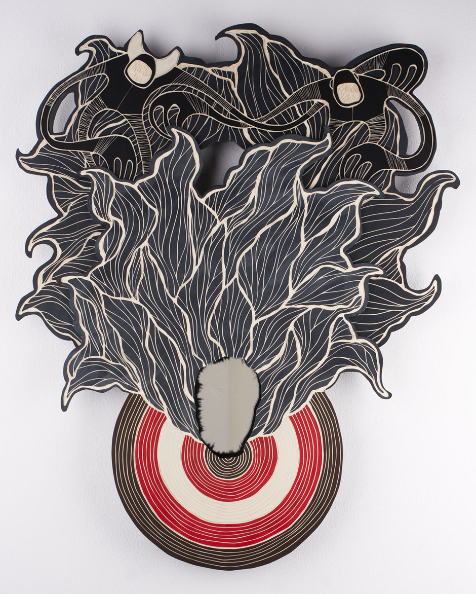 TARGET.PRACTICE #02 | woodcut, acrylic paint, mirror; 74 x 62 x 3 cm (2014)