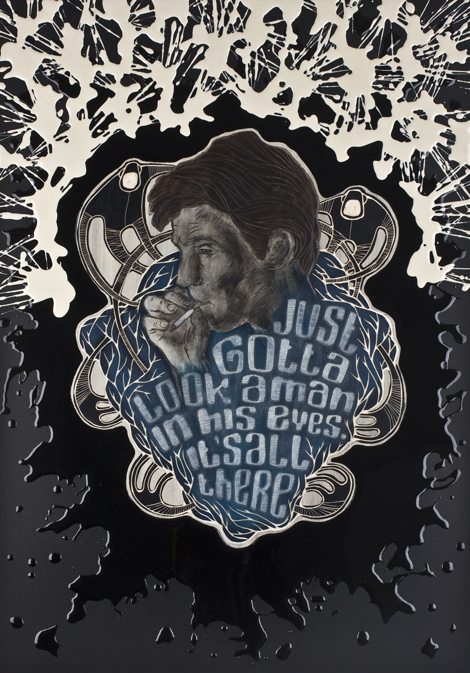 Alex Diamond: Just gotta look a man in his eyes. It's all there. Woodcut, acrylic paint, resin, 50 x 70 x 3cm (2014)
