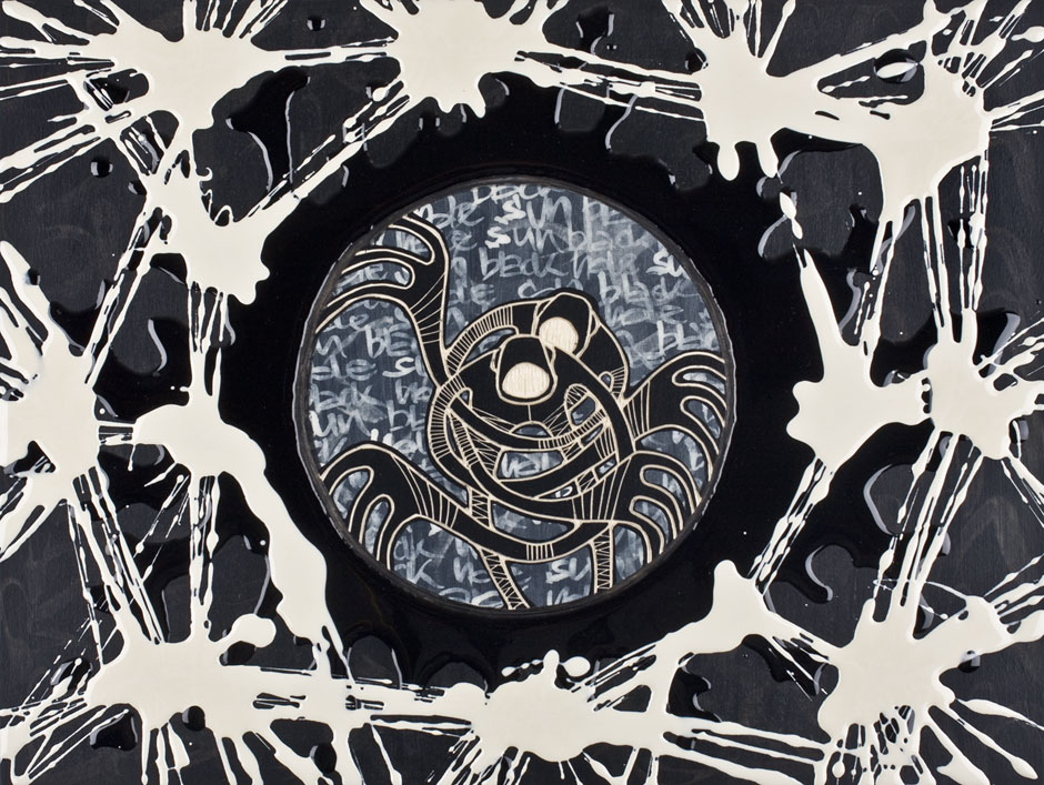 Alex Diamond: Black Hole Sun II Woodcut, acrylic paint, resin, 30 x 40 x 3 cm (2014)