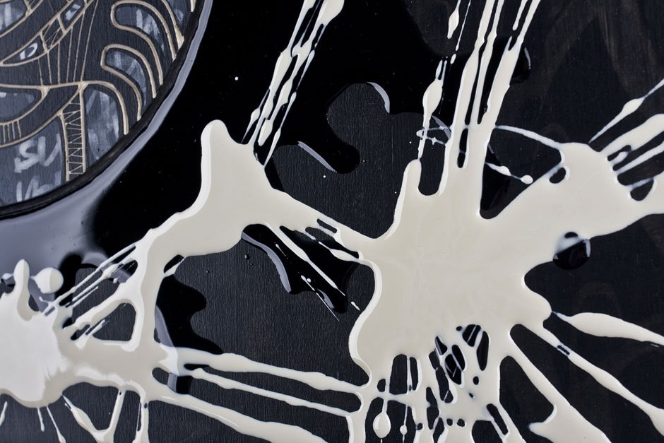 Alex Diamond: Black Hole Sun II (Detail)   Woodcut, acrylic paint, resin, 30 x 40 x 3 cm (2014)