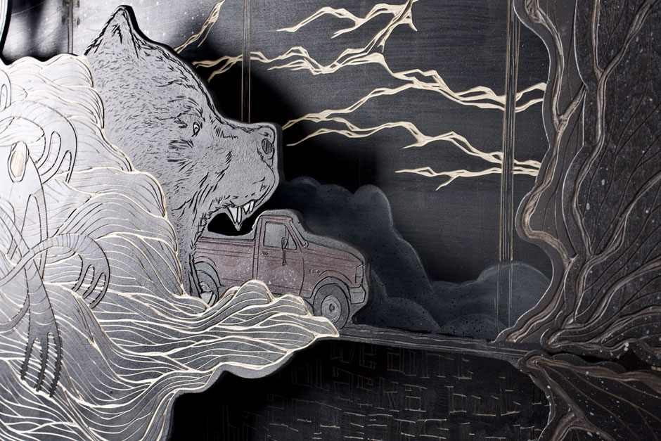 Alex Diamond: (We ain't in Alaska, but) It appears to me that the dark has a lot more territory. (Detail) | Multi-layered woodcut, acrylic paint, 120 x 160 x 10 cm (2014)
