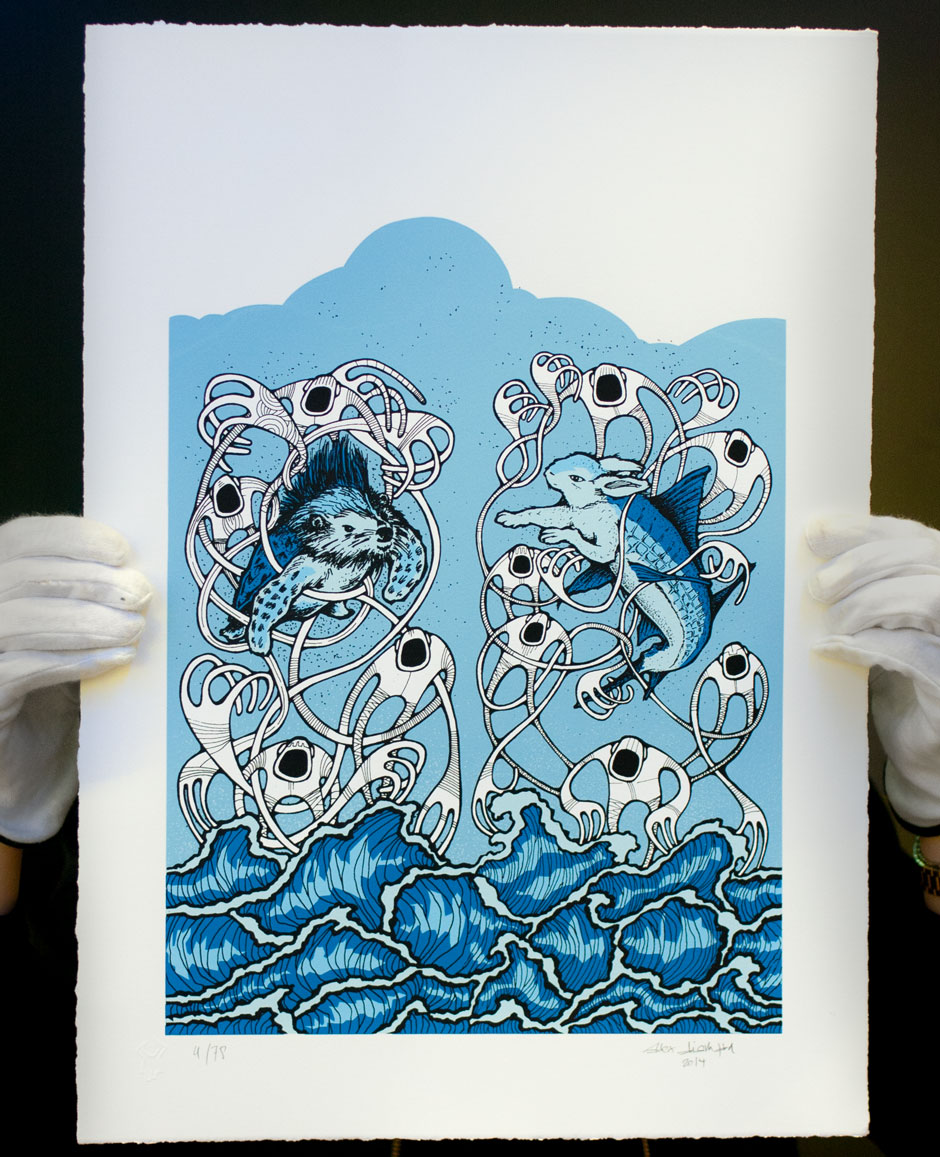'Hase+Igel', a new 6-color Alex Diamond silkscreen print, is available online here.