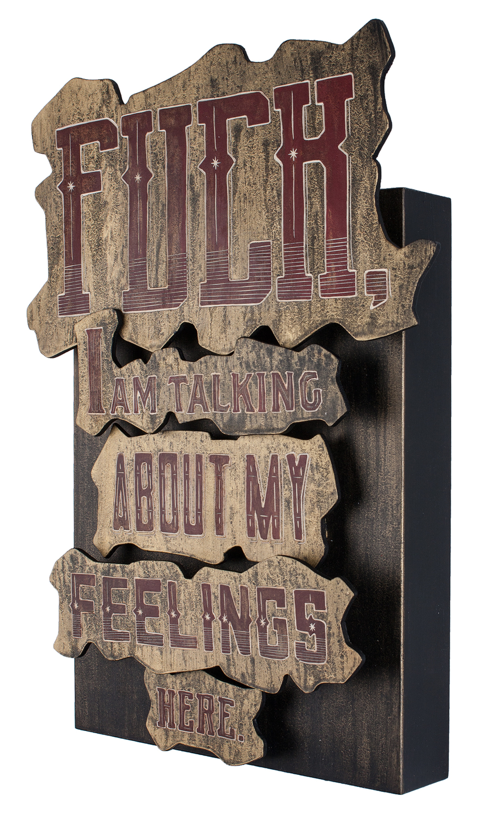 Alex Diamond: Fuck, I am talking about my feelings here. (2015)  Woodcut, acrylic paint, 50 x 30 x 9 cm