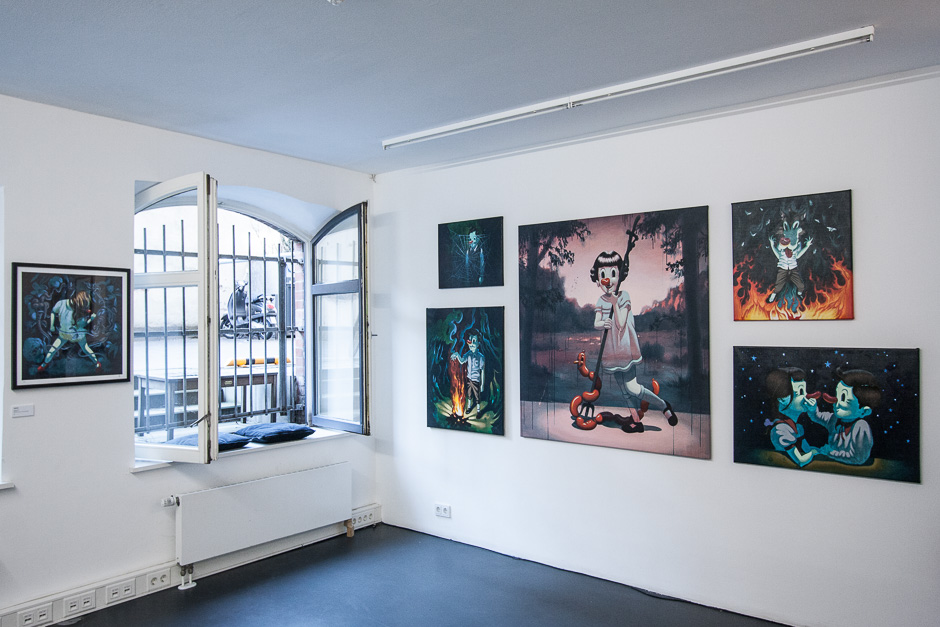 Exhibition view of group exhibition #PEEK at  heliumcowboy gallery  in Hamburg, featuring ADAMEVA, Julia Benz, Victor Castillo, Alex Diamond, Elmar Lause, Boris Hoppek and David Shillinglaw. Photo © heliumcowboy