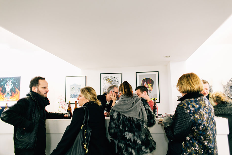 Vernissage of #PEEK at heliumcowboy in Hamburg. Photo by Tamara Gries.
