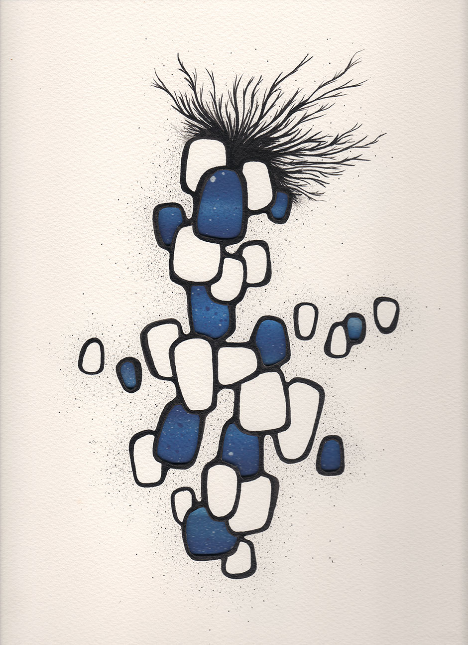 "Alex Diamond: Featherweight Blue | Drawing on cut and layered paper 2015, ink and spray paint on Saunders Waterford paper (St. Cuthberts Mill) 300g/m (140lb), 31 x 23 cm (12"" x 9"")"