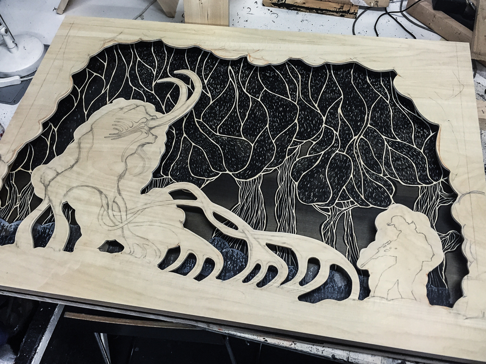 Work in progress: Encounter at 4 am (2015), Multi-layered woodcut | © Alex Diamond