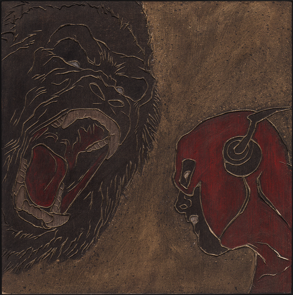 "Alex Diamond: Grodd vs. The Flash (2016) Acrylic paint, woodcut, 20 x 20 x 3 cm (7.8"" x 7.8"" x 1.2"")"