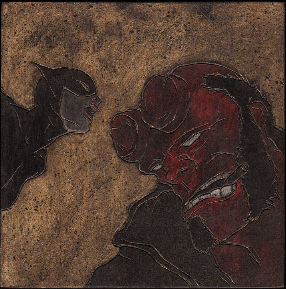 "Alex Diamond: Hellboy vs. Catwoman (2016) Acrylic paint, woodcut, 20 x 20 x 3 cm (7.8"" x 7.8"" x 1.2"")"