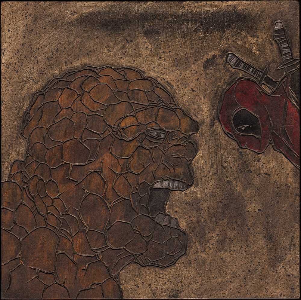 "Alex Diamond: The Thing vs. Deadpool (2016) Acrylic paint, woodcut, 20 x 20 x 3 cm (7.8"" x 7.8"" x 1.2"")"