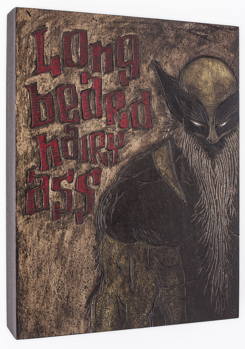 "Alex Diamond: Long Beard, Hairy Ass (2016) acrylic paint, woodcut, 20 x 20 x 3 cm (7.8"" x 7.8"" x 1.2"")"