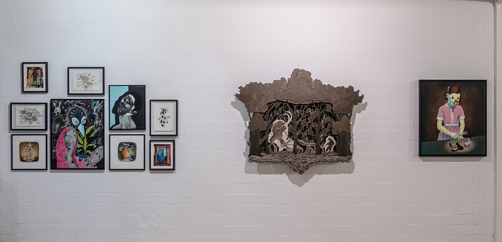 "Installation view from ""142 Jahre Kunst in Hamburg"" alongside Jay Ole, Rune Christensen, Victor Castillo, Jaybo Monk and Boris Hoppek, Hamburg, 2016. More images here."