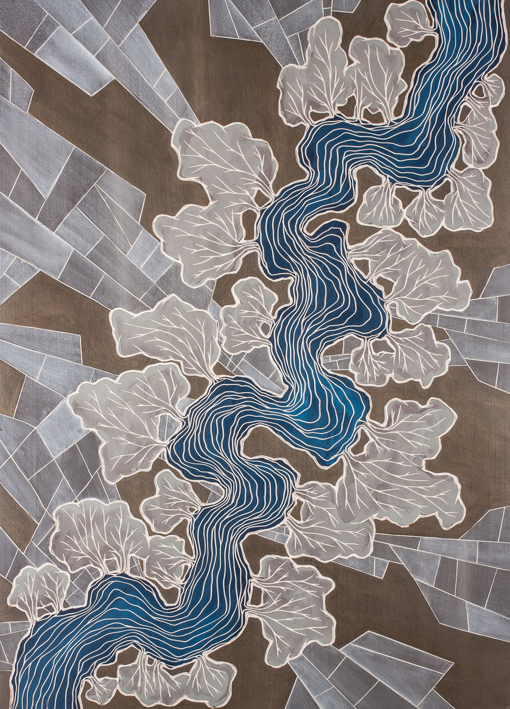 "Alex Diamond: ALONG THE BANKS OF RIVERS (2016) woodcut, acrylic paint, 50 x 70 x 3 cm (19.6"" x 27.5"" x 1.2"")"