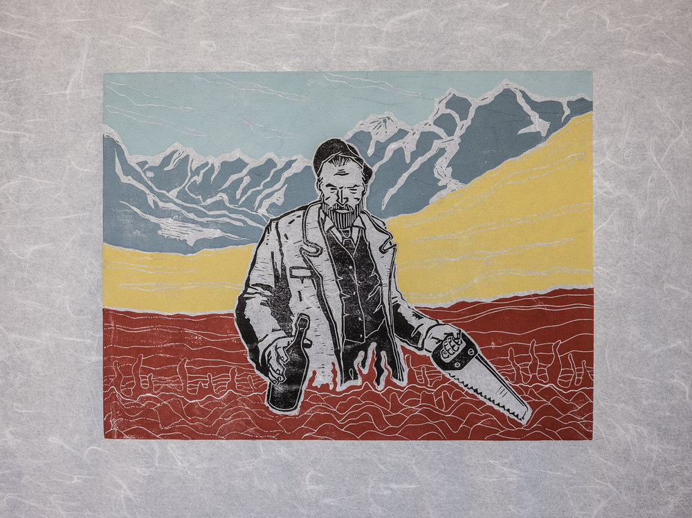 Here's a look at the woodblock print edition of The Dirty Hands Of Alex Diamond: Edition 20 hand-pressed, 5-color prints on handmade Okashi paper (Size: print 40 x 30 cm, paper 61 x 45,5 cm). Check out the heliumcowboy online shop (click image), it will be available there Thursday, October 13, at noon.
