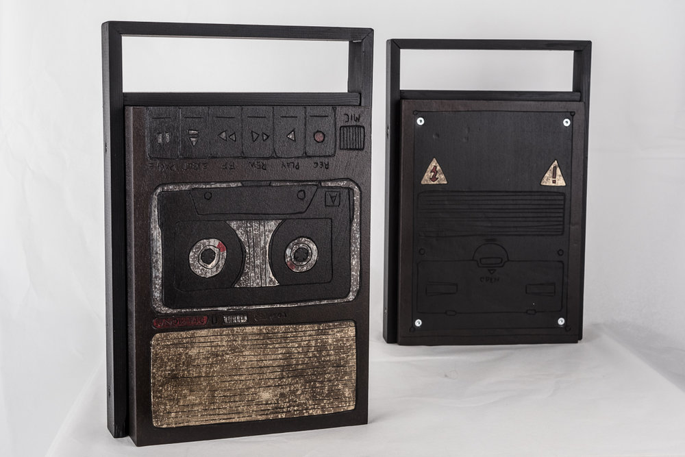 "The ""Diamond Cassette Player"" - woodcut, painting and sculpture combined for the 2016 HANS Music Award-Trophy."