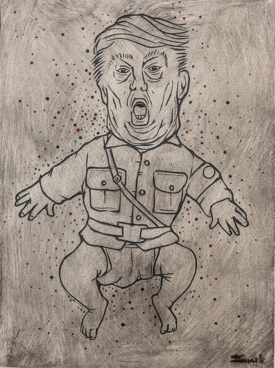 "Alex Diamond: RESIST (Trumpomania) Painted woodcut (2017). Wood, acrylic paint, 18 x 24 x 3 cm (7,1"" x 9,5"" x 1,2"")."
