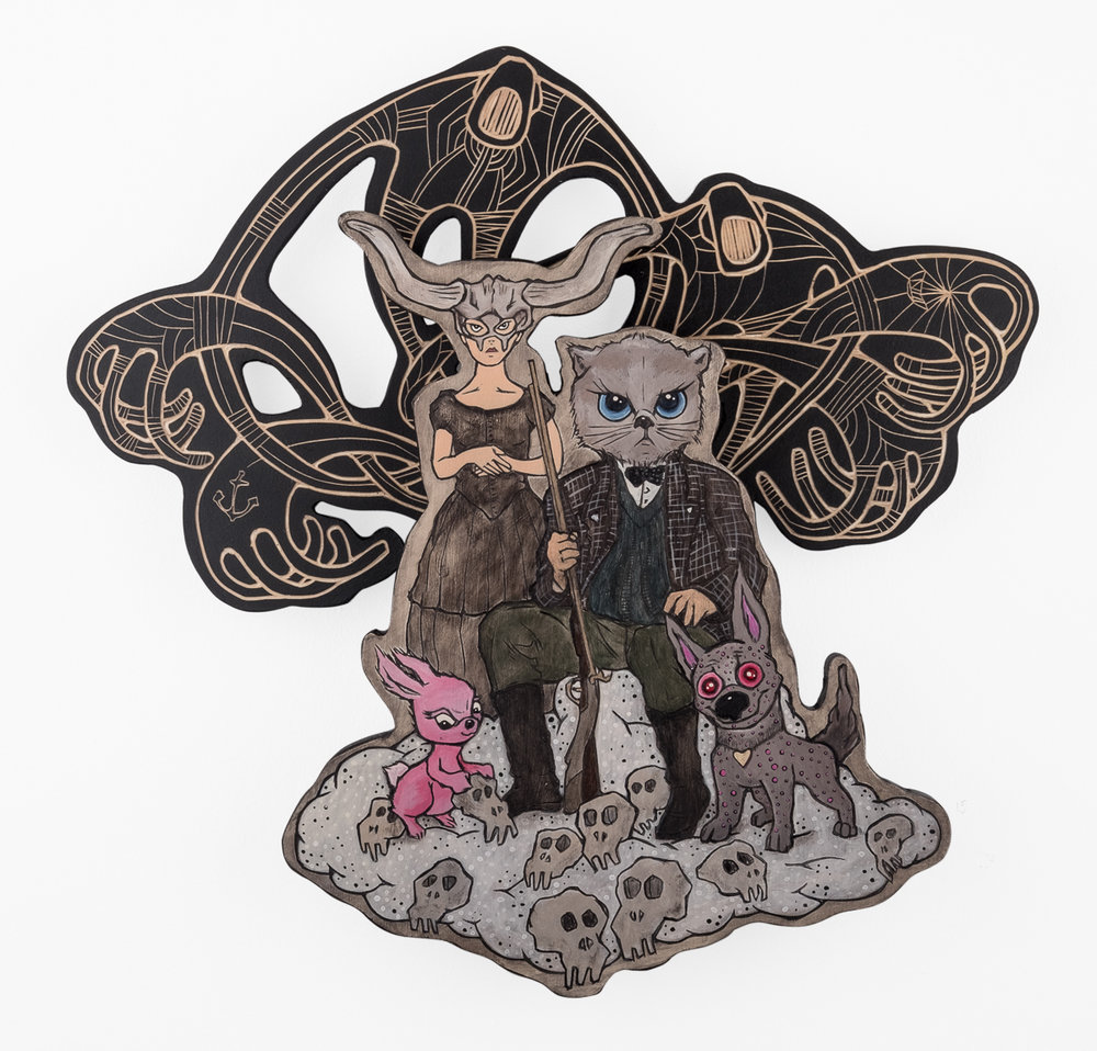 Alex Diamond: THE REVEREND REMINGTON HUNTING PARTY (2017) Sculptural woodcut, Acrylic paint, 42 x 45 x 6 cm