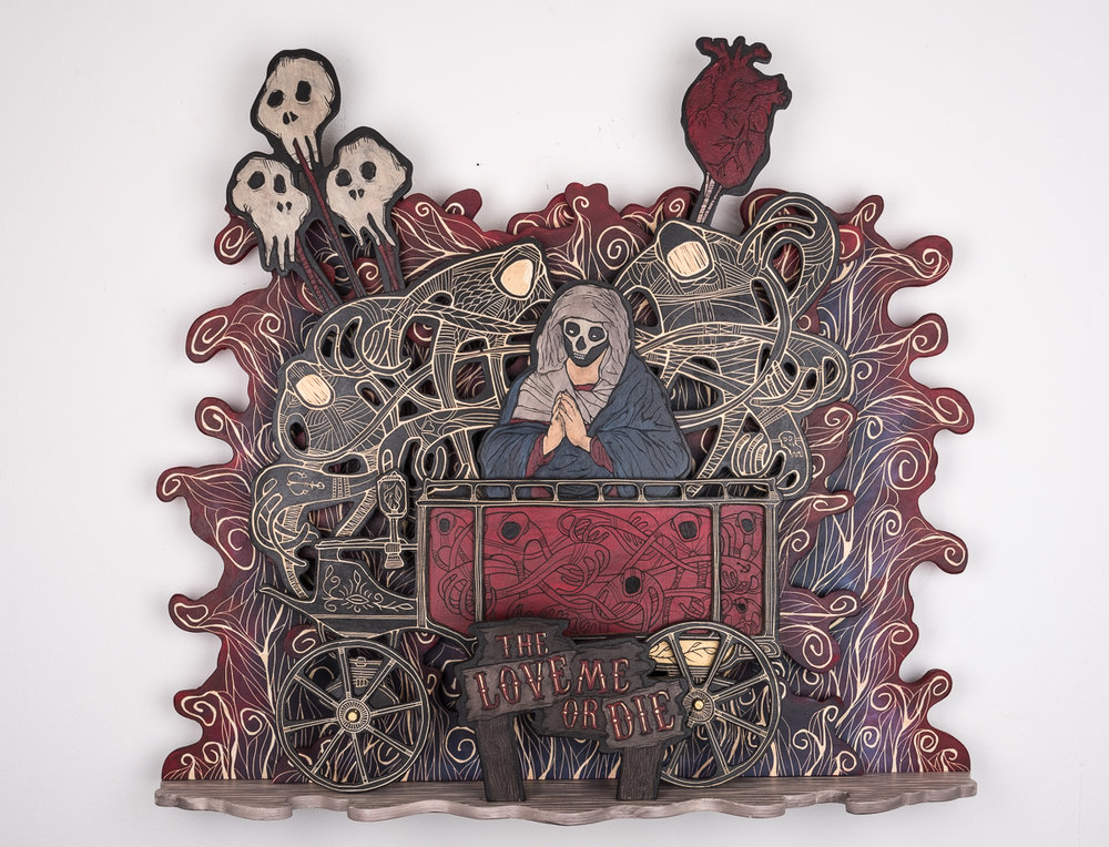 Alex Diamond: The Love Me Or Die Sculptural woodcut. Wood, acrylic paint, 72 × 85 × 18 cm