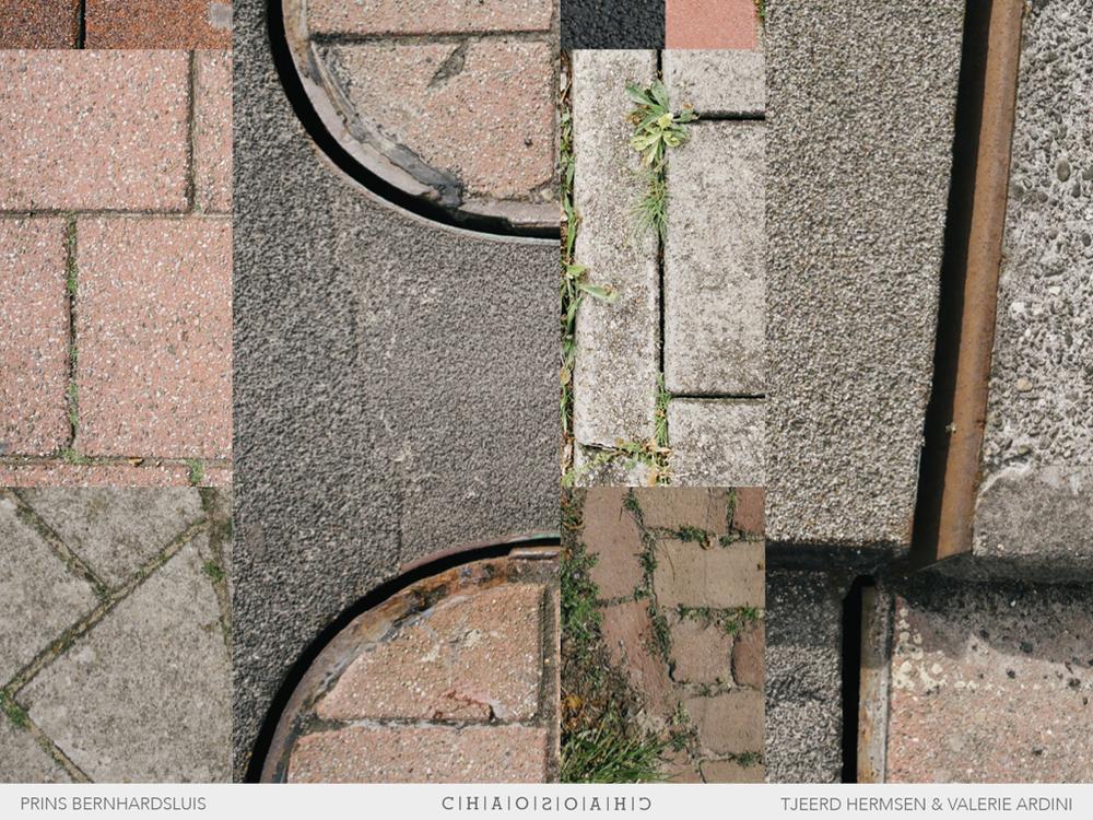 Chaos van texturen, materialisering. Klinkers, tegels, verschillende legverbanden, asfalt, beton, etc. Lappendeken; visueel geweld.