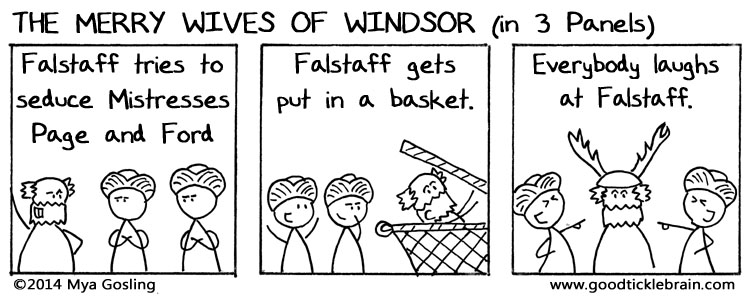 GoodTickleBrain.com's three-panel synopsis of The Merry Wives of Windsor