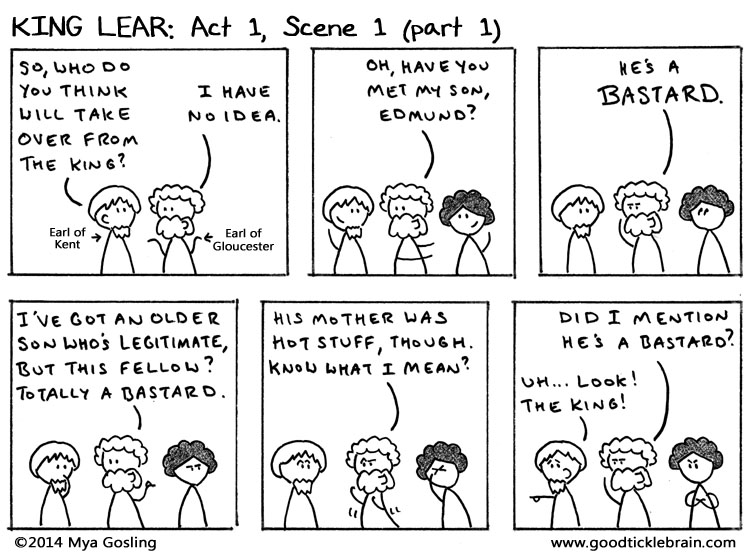 shakespeares king lear edmunds bastard status Actually understand king lear act 1 read every line of shakespeare's original text alongside a our father's love is to the bastard edmund as to the.
