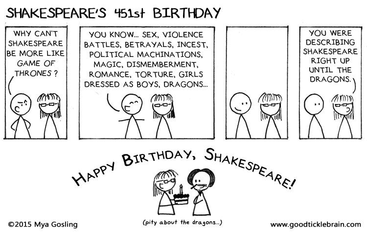 Happy 451st Birthday Shakespeare Good Tickle Brain