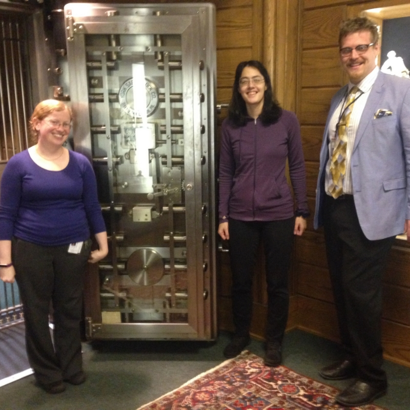 Abbie Weinberg, the door to the vault, me, and Alan Katz. (Photo by Kate Pitt.)
