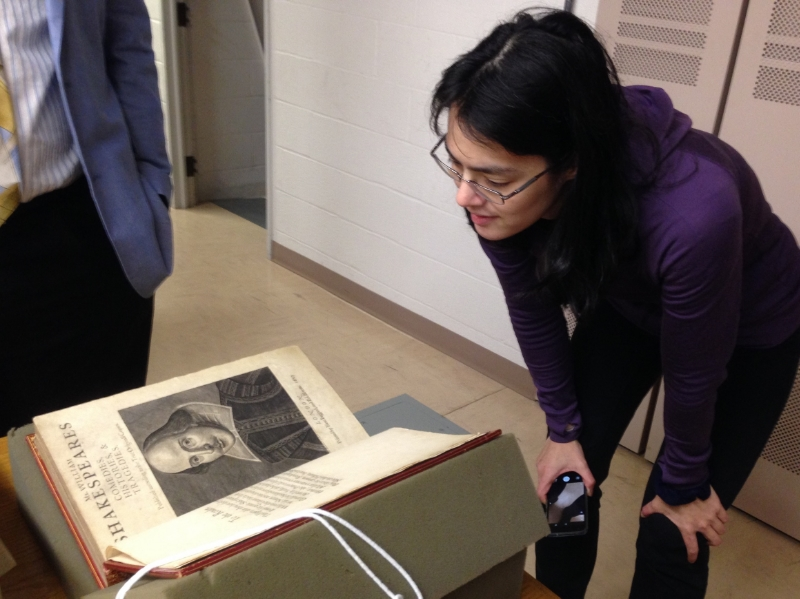 Face to face with a First Folio. (Photo by Kate Pitt.)