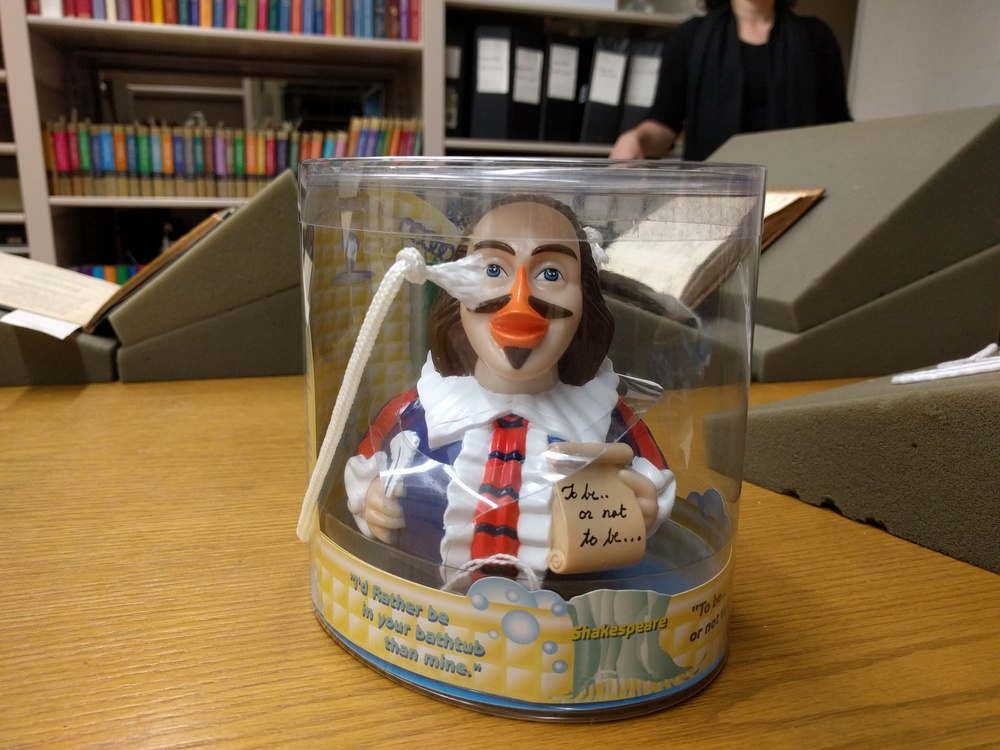 Shakespeare rubber ducky. This is how cool the Folger is: this ducky is part of their collection. It's in the vaults. It has a call number. It's in the original packaging.