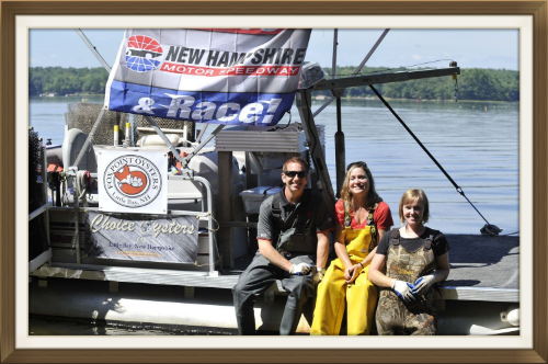 Greg Biffle, Krystin Ward (Choice Oysters), and Laura Ward (Fox Point Oysters) on Pearl   -Photo Credit: NH Speedway, Alan MacRae