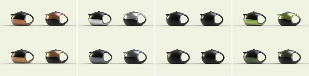 The teapots are available in four different colors.